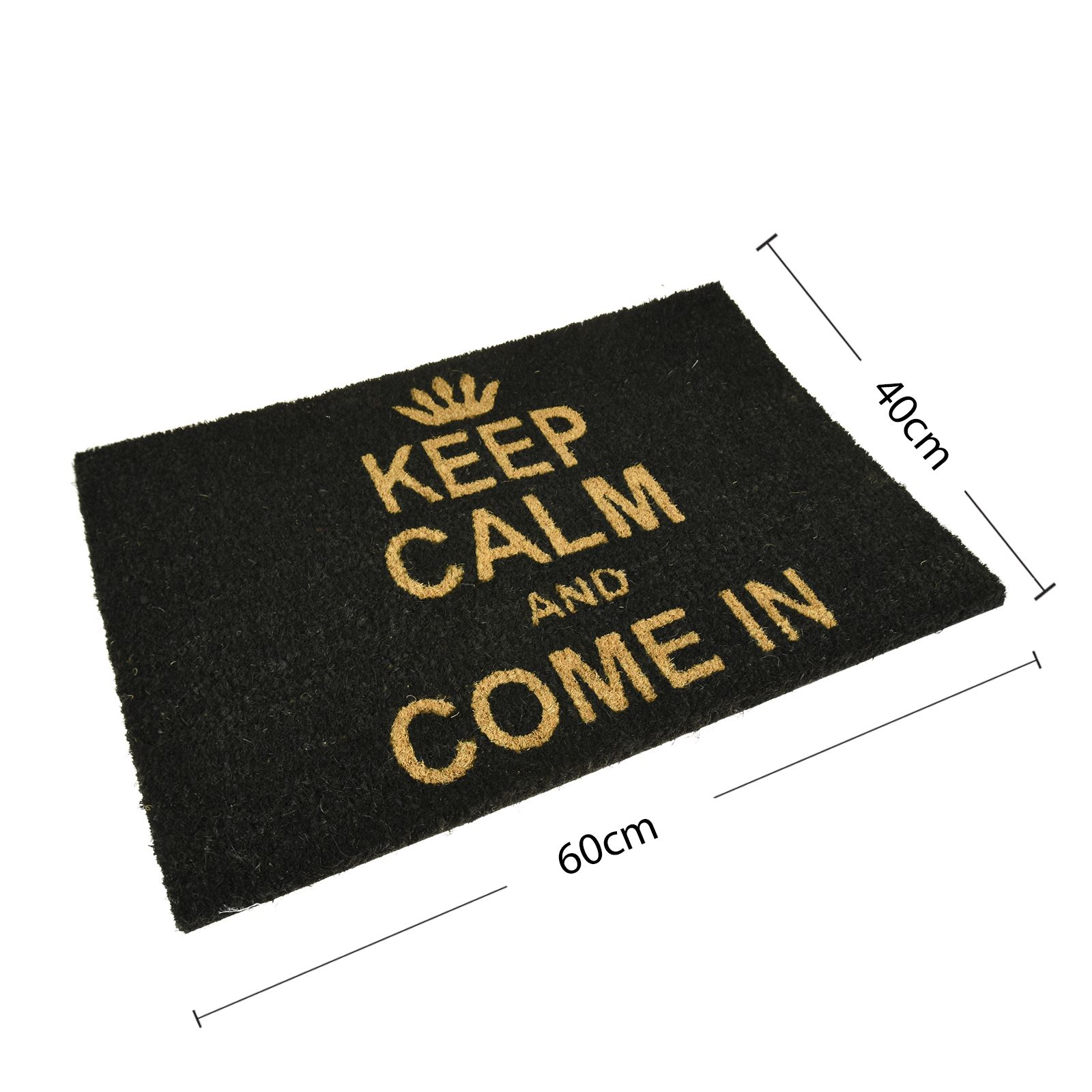 Leave Welcome Mat Door Mat Coir 60x40cm Keep Calm And Come In Black Asab