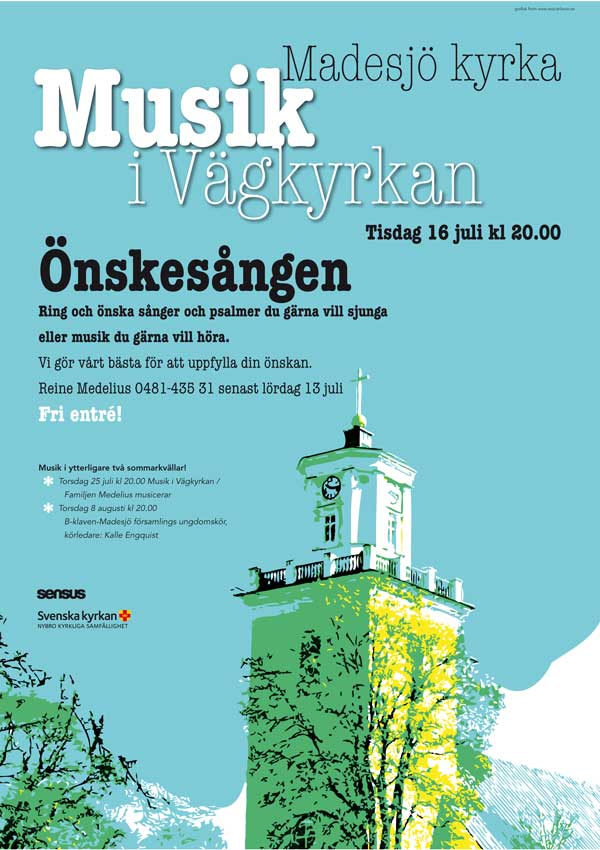 Affisch sommarmusik i Madesjö