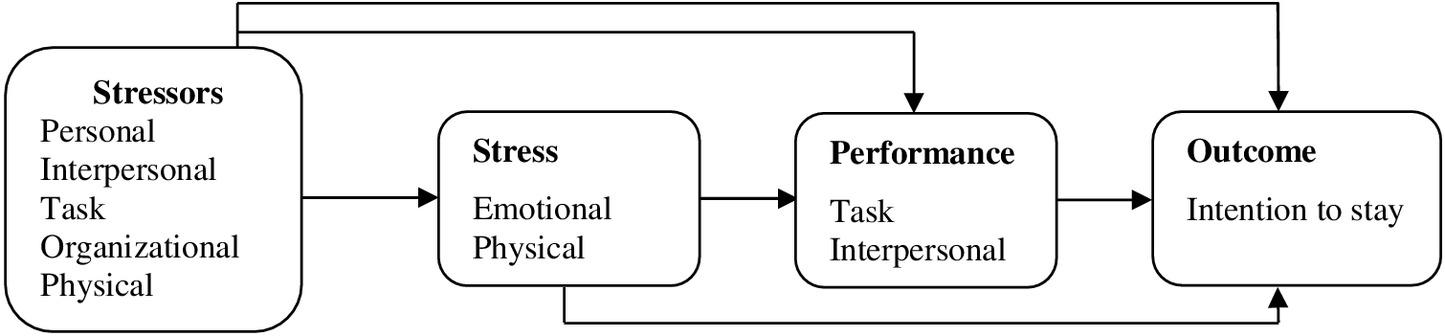 Development of a Stressors\u2013Stress\u2013Performance\u2013Outcome Model for