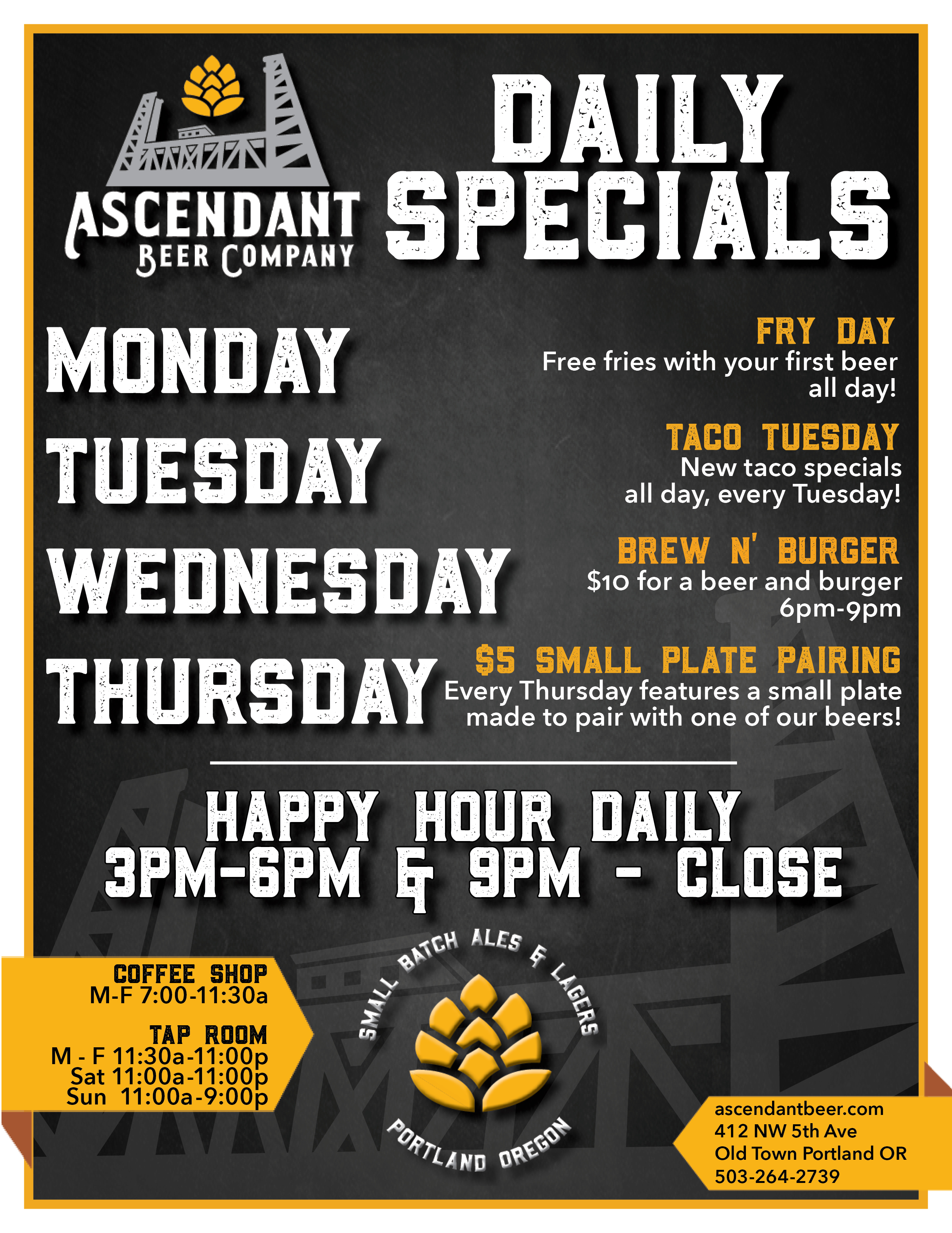 Beer Specials Daily Specials Ascendant Beer Company