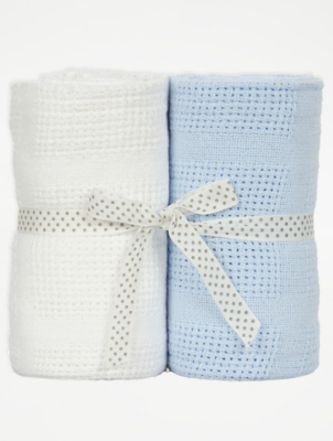 Cellular Cot Blankets Blue And White Cellular Baby Blanket 2 Pack