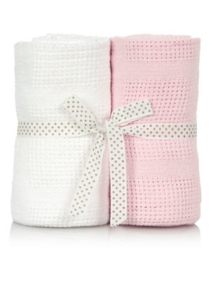Cellular Cot Blankets Pink And White Cellular Baby Blanket 2 Pack