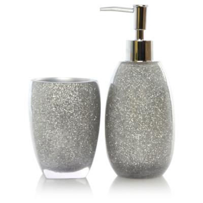 Silver glitter bath accessories range loading zoom
