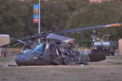 Photo 700-14: Army UH-60 Blackhawk helicopter crashed on Duncan...in background. College Station ...