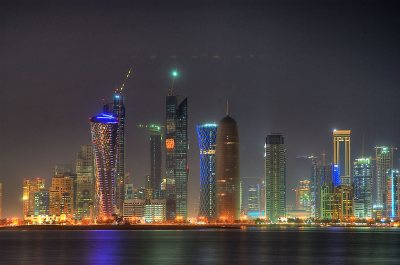 Photo 822-17: West Bay area from Corniche at evening. Doha, Qatar