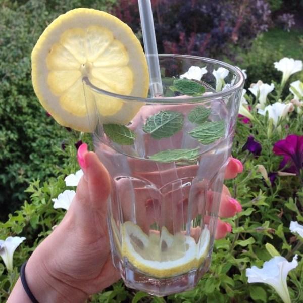 Wasser mit Zitrone und Minze