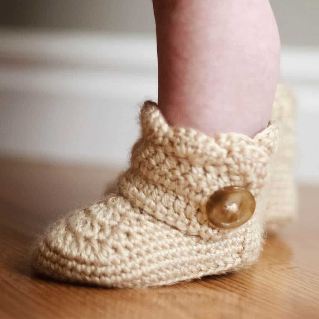 Baby Newborn Booties Crochet Wrap Around Button Infant Boots Girls And Boys