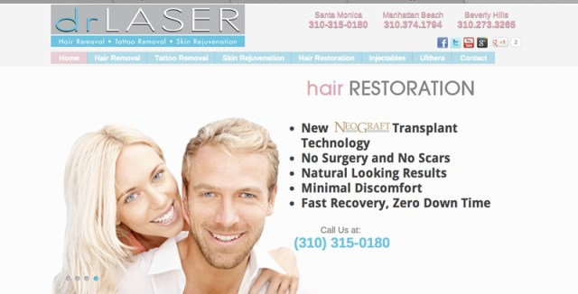 drLaser Hair Restoration Home Page