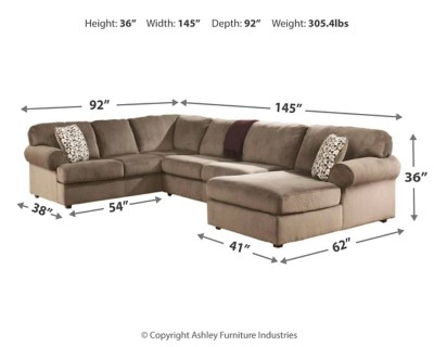 Next Sofa Measurements Jessa Place 3 Piece Sectional With Chaise Ashley Homestore