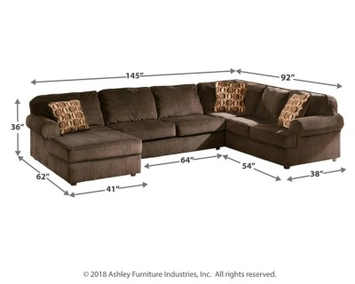 Chocolate Corduroy Sofa Vista 3 Piece Sectional With Chaise Ashley Homestore