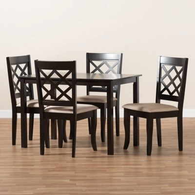 Verner Sand Fabric Upholstered Espresso Brown Finished 5 Piece Wood Dining Set Ashley Furniture Homestore
