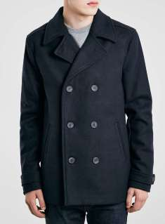 Topman Navy Wool Blend Peacoat Jacket