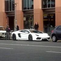 White Lamborghini Aventador on Pulteney St
