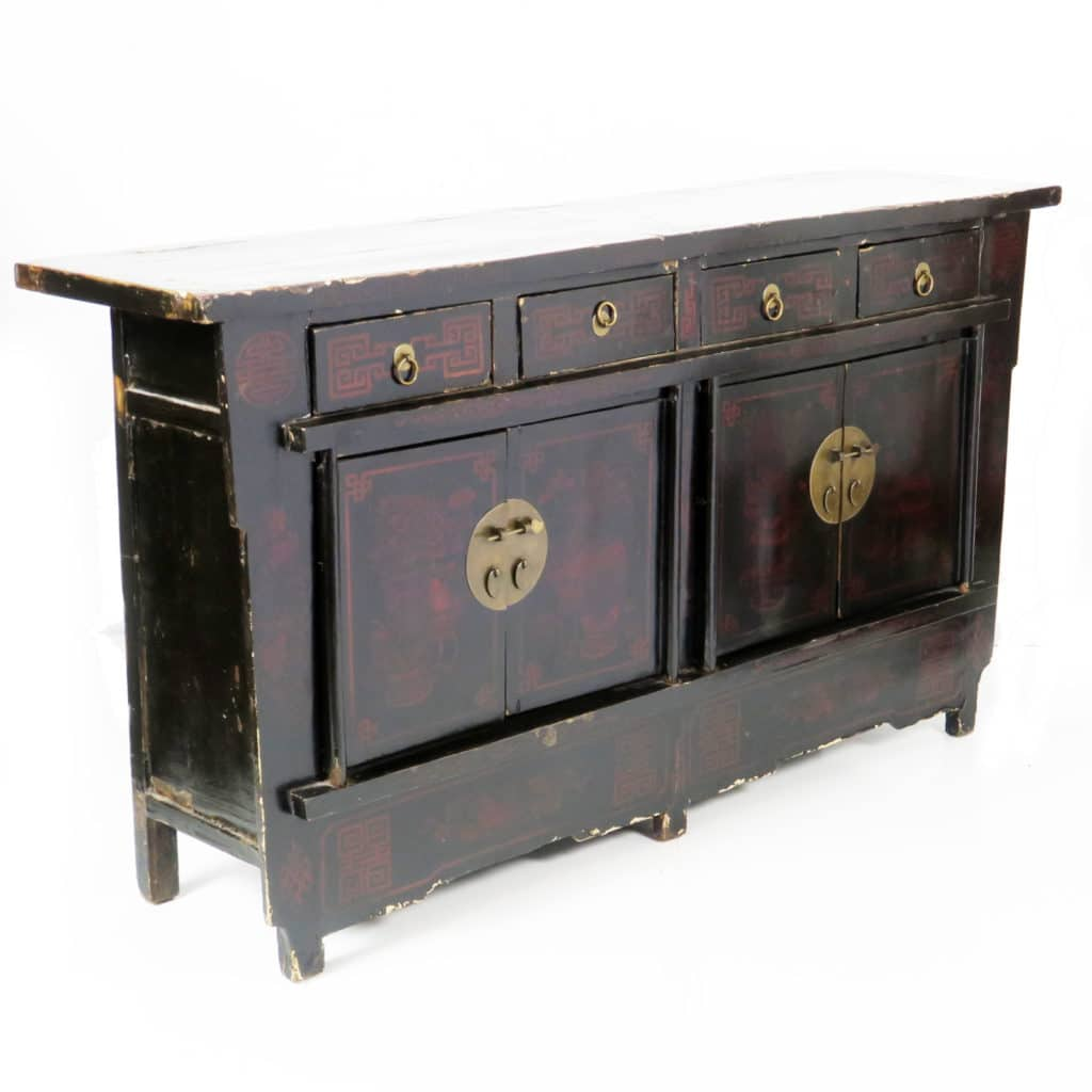 Asia Sideboard Antique Chinese 67 Inch Black Lacquer Sideboard Asian 4