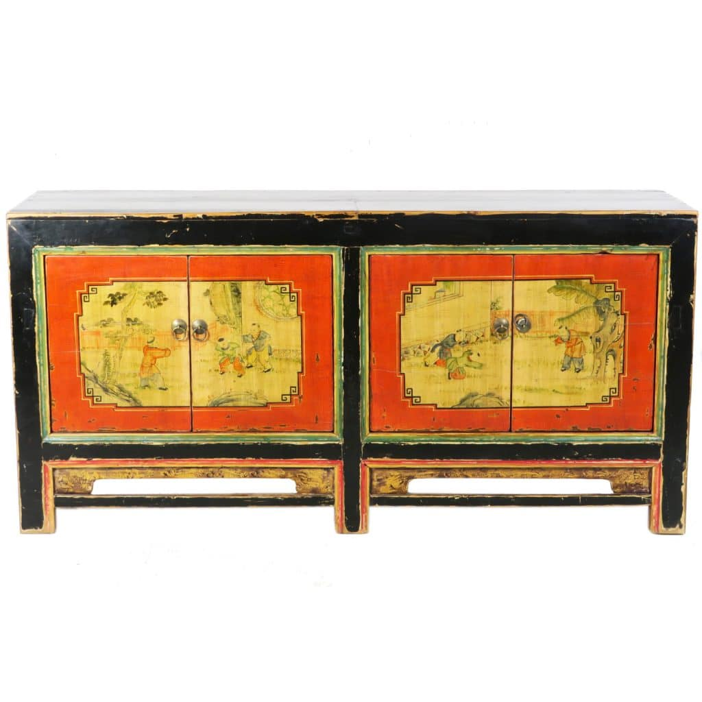 Asia Sideboard Antique Mongolian 4 Door Sideboard Cabinet 68 Inch Long