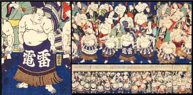 This painting of sumo wrestlers by Utagawa Kuniteru II, shown in full on the lower right, is from 1867. In the closeup views at left and top right, Raiden, who is without a yokozuna rope, is pictured among several of the top-ranked wrestlers.