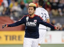Sep 26, 2015; Foxborough, MA, USA; New England Revolution midfielder Lee Nguyen (24) celebrates after scoring a goal on a penalty kick during the first half against the Philadelphia Union at Gillette Stadium. Mandatory Credit: Stew Milne-USA TODAY Sports