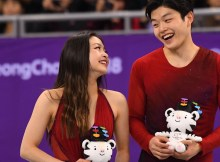 Feb 20, 2018; Pyeongchang, South Korea; Bronze medal winners Maia Shibutani and Alex Shibutani (USA) celebrate after the figure skating free dance event during the Pyeongchang 2018 Olympic Winter Games at Gangneung Ice Arena. Mandatory Credit: Robert Deutsch-USA TODAY Sports