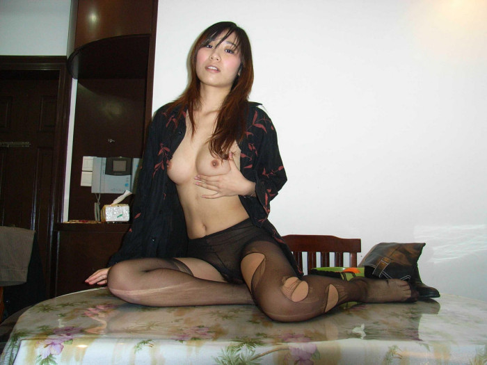 Sleeping asian beauty with hairy pussy