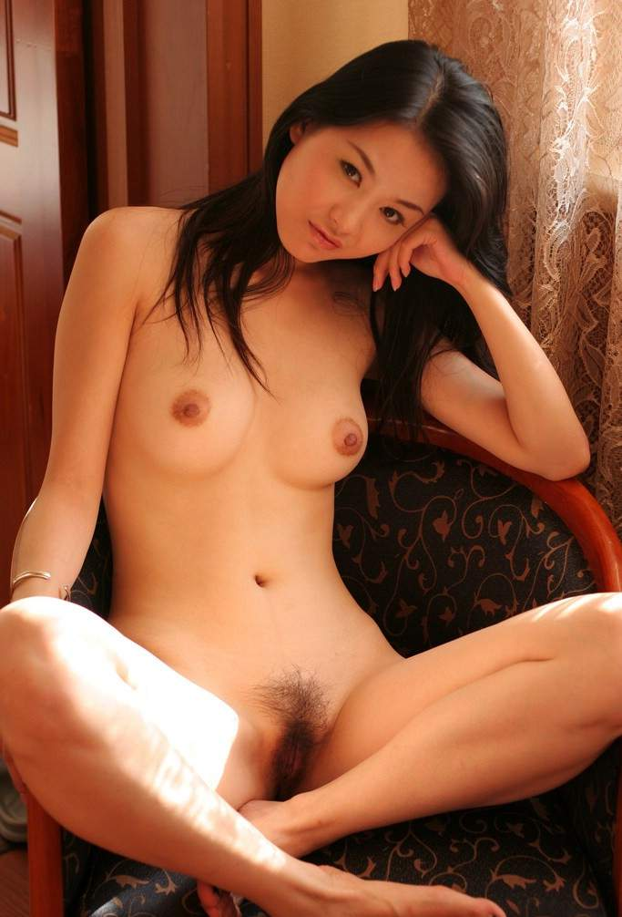 Natural asian girl with small tits and hairy pussy