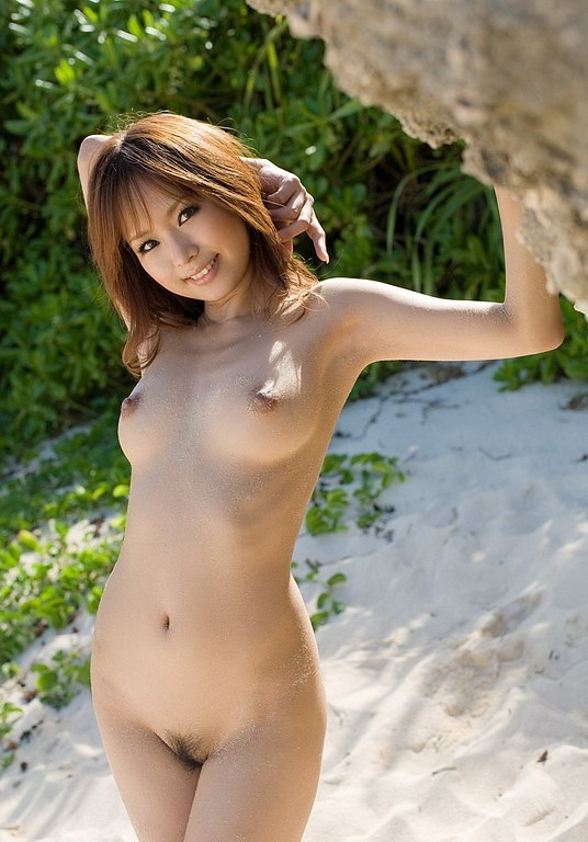 Exotic asian with small strange tits and big pussy outdoors