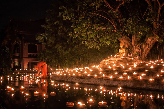 Wesak Wallpaper Hd Photo Of The Day Lighting A Candle For Buddha In Chiang