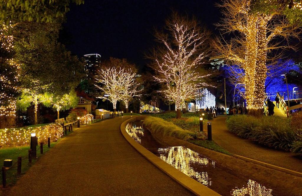 Fall Town Wallpaper Christmas Illumination In Tokyo Midtown Starlight Garden