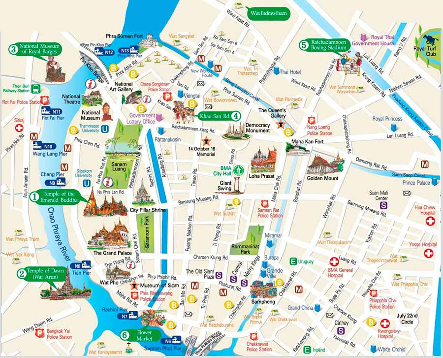 bangkok-tourist-mapjpg (900×727) À la Découverte Pinterest - blank road map