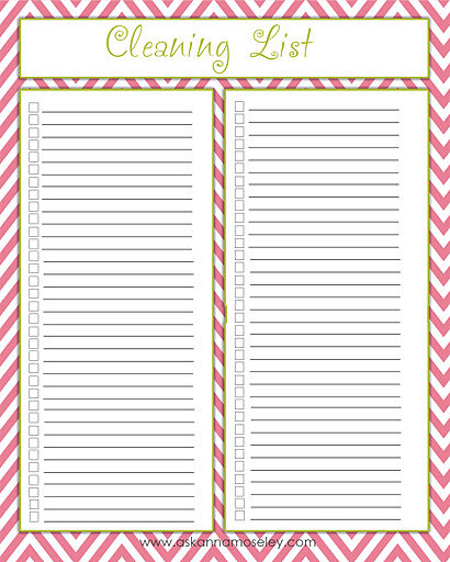 Cleaning Checklist Printables - Ask Anna
