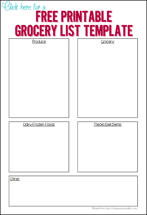 Organized Grocery List - 3 FREE printable templates - Ask Anna - grocery shopping template