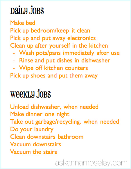 Chore Chart Ideas for Kids - Ask Anna - daily chore