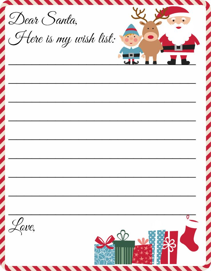 Merry Christmas Wishes  Free Printable Letter to Santa Template