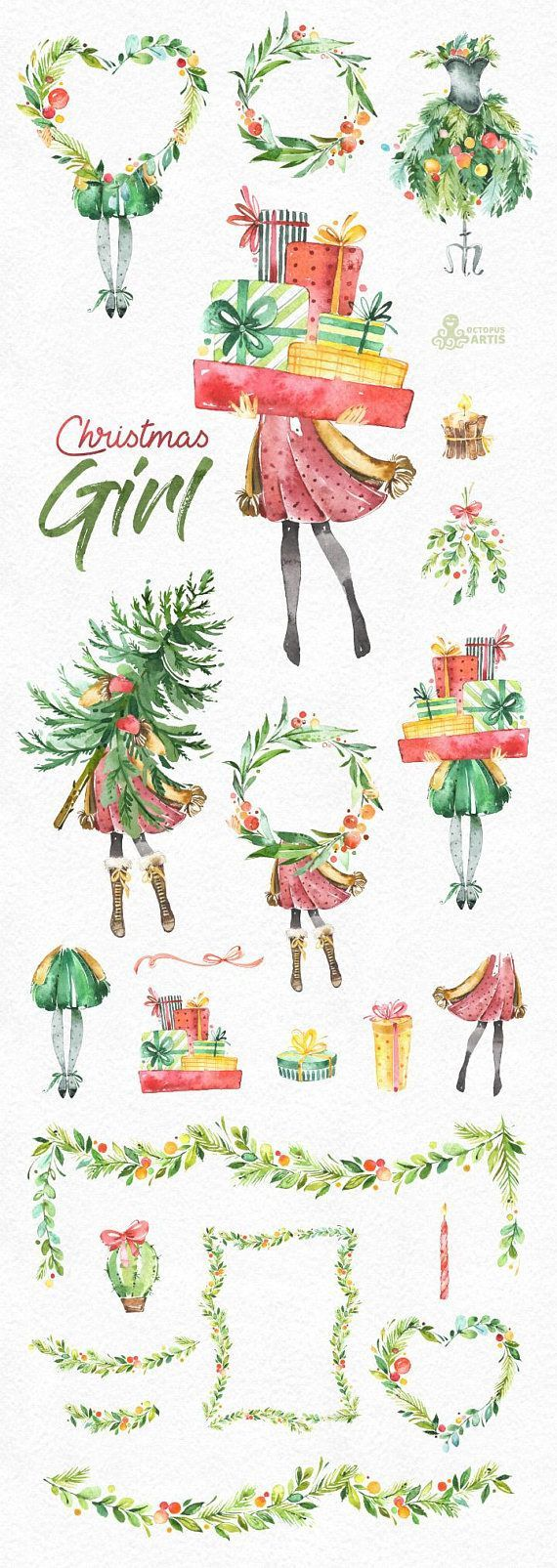 Basteln Weihnachten Clipart Merry Christmas Quotes Christmas Girl Watercolor Holiday