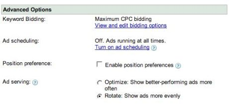 AdWords ad serving settings