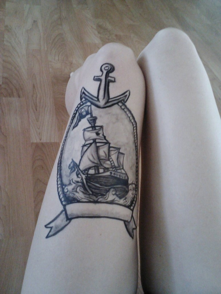 Full Frame Half Frame 22 Colorful Boat Tattoo Images And Pictures Gallery