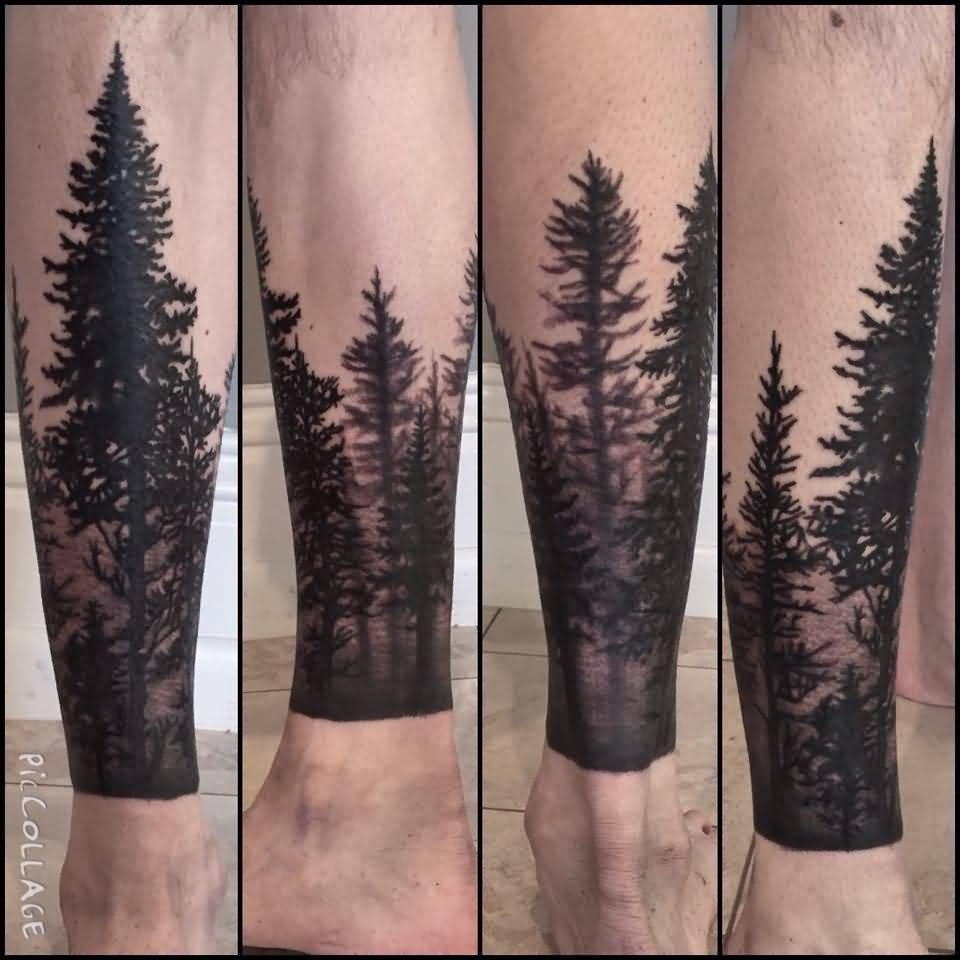 12 Forest Tattoos On Leg - Wald Tattoo