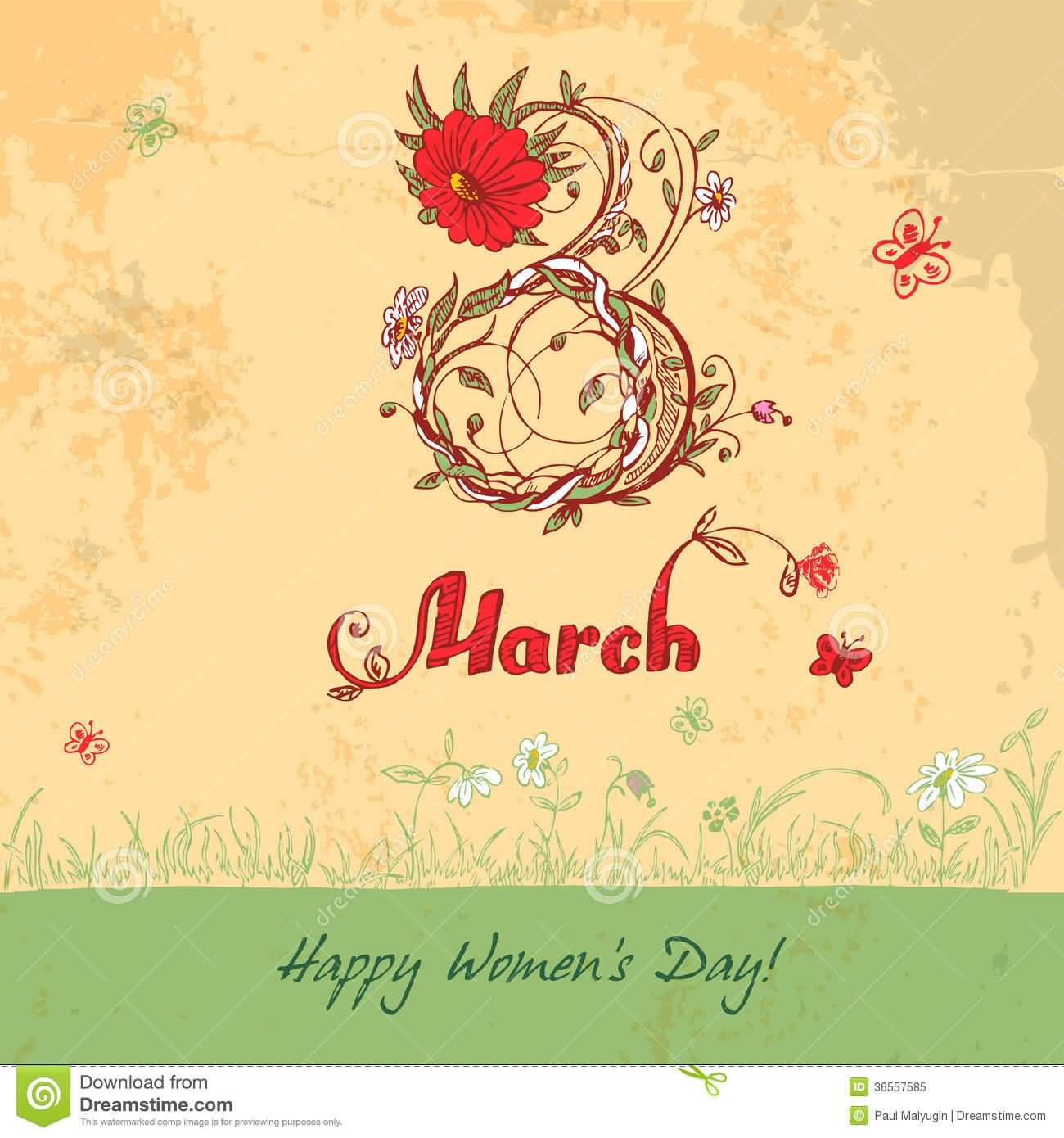 Vintage 8 8 March Happy Women S Day Vintage Greeting Card