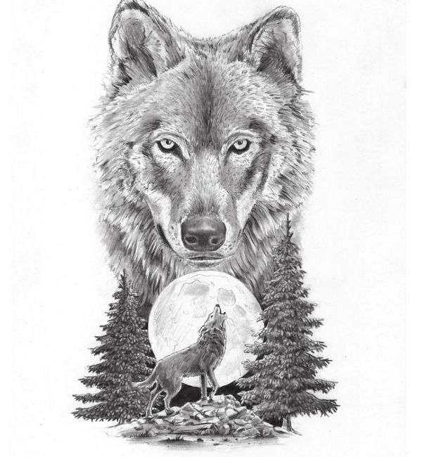 Moon With Howling Wolf Tattoo Design - Heulender Wolf Bedeutung