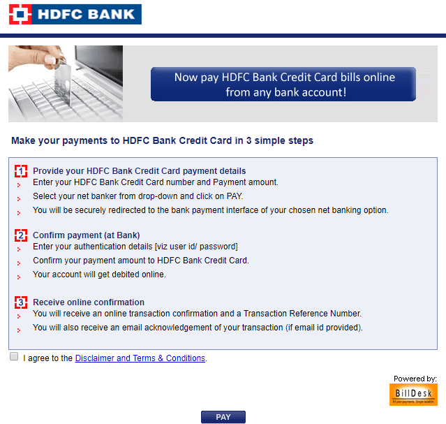 HDFC credit card payment - through Netbanking, Billdesk, Neft, Debit Card, ATM - Ask Queries