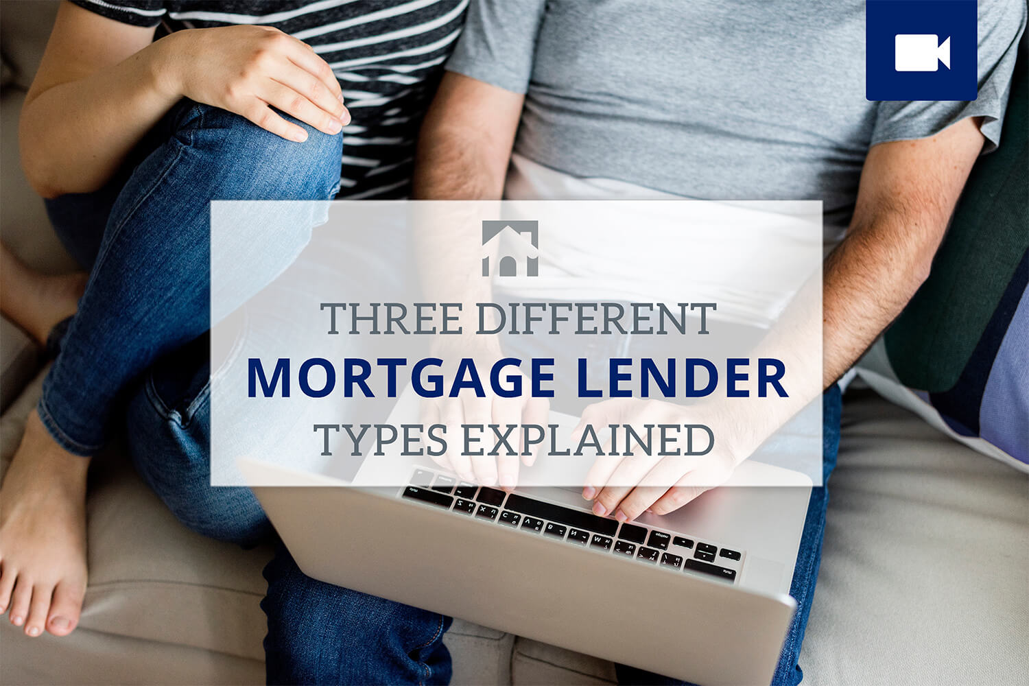 "Couple on couch with laptop with text that states ""Three Different Mortgage Lender Types Explained"" - Types of Lenders"