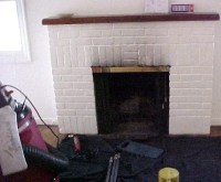 GAS FIREPLACE AND SOOT MARKS ON CHIMNEY  Fireplaces