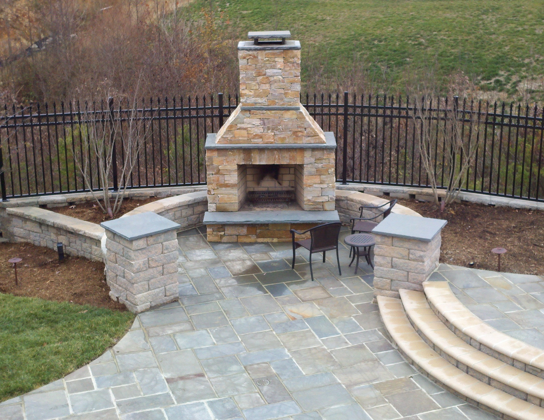 Fireplace And Patio Beautiful Pool With Bluestone Patios And Stone Fireplace
