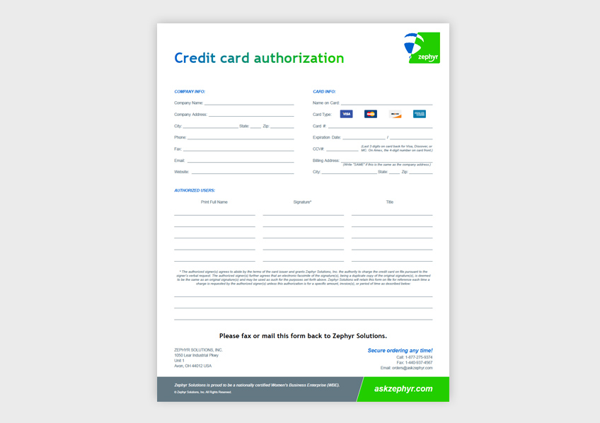 Credit Card Authorization Form Zephyr Solutions LLC - fax authorization form
