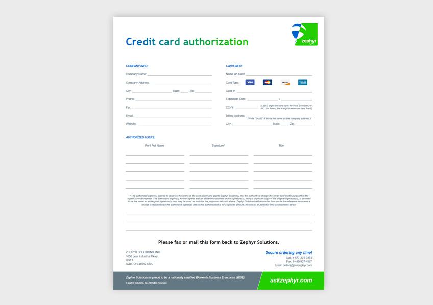 Credit Card Authorization Form Zephyr Solutions LLC