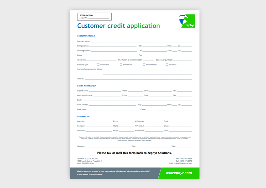 Customer Credit Application Form - - credit application