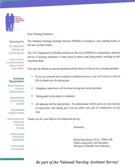 An Introduction to the National Nursing Assistant Survey ASPE - health survey template