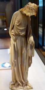 Synogogue - blindfolded woman in 13th century ivory set, Descent from the Cross.