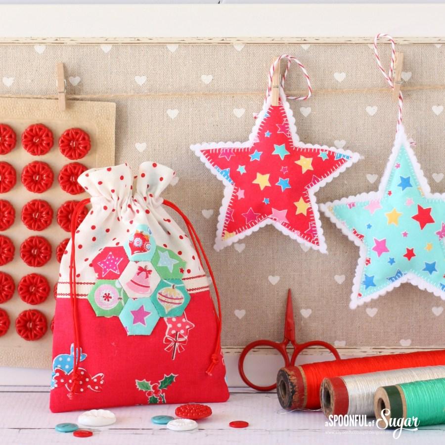 Christmas retro drawstring bags a spoonful of sugar