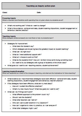 Teaching as inquiry action plan / Teaching as inquiry \u2013 practical - action plan in pdf