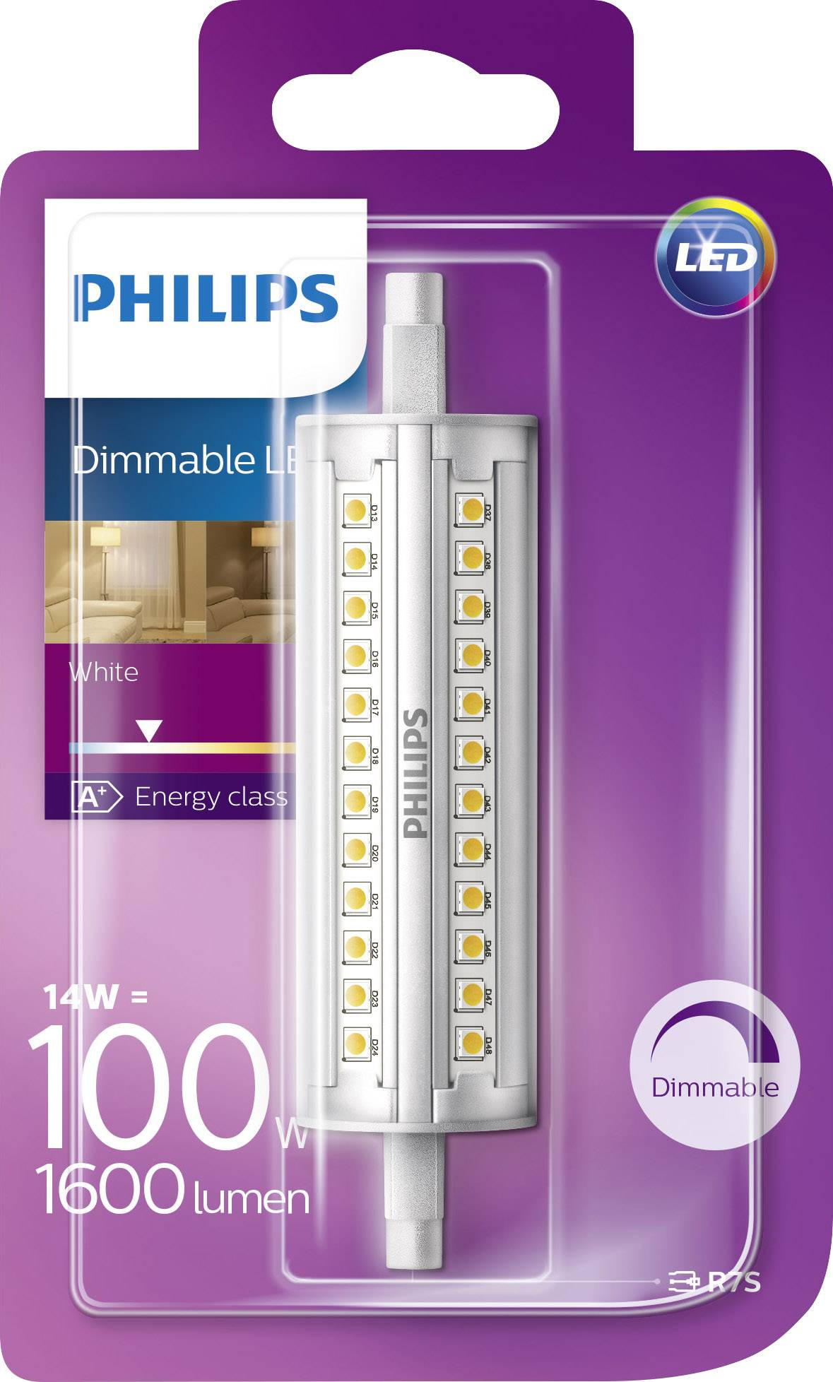 R7s Led Dimbaar Philips Philips Lighting Led Eec A A E R7s Tubular 14 W 100 W Warm White Ø X L 29 Mm X 118 Mm Dimmable 1 Pc S